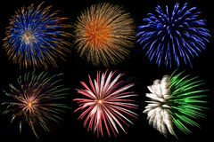 Colorful firework explosions Royalty Free Stock Photo