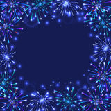 Colorful firework frame. Illustration of colorful firework frame on blue background Stock Images