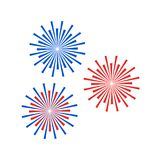 Colorful firework icon. Vector illustration. Colorful firework icon in a flat minimalist design. Vector illustration. Festive firework sign on white background Royalty Free Stock Image
