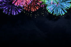 Colorful firework on midnight blue sky Royalty Free Stock Photos