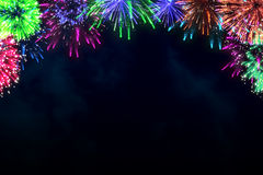 Colorful firework on midnight blue sky Stock Photo