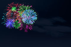 Colorful firework on midnight blue sky. For celebration content. background design. illustration Royalty Free Stock Image