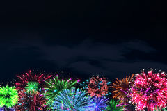 Colorful firework on midnight blue sky. For celebration content. background design. illustration Royalty Free Stock Photos