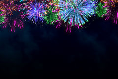 Colorful firework on midnight blue sky. For celebration content. background design. illustration Royalty Free Stock Images