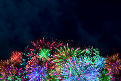 Colorful firework on midnight blue sky. For celebration content. background design. illustration Stock Photography