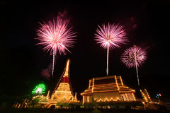 Colorful firework on night at Phra Samut Chedi Pagoda in Thailan Royalty Free Stock Image