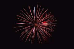 Fireworks abstract on dark background. Colorful firework on the night sky. New Year celebration fireworks. Abstract firework  on black background with free space Royalty Free Stock Photography