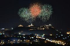 Colorful firework over the city Khao Wang Phra Nakhon Khiri Prachuap Khiri Khan Province Thailand. Colorful firework over the city Thailand Royalty Free Stock Photos