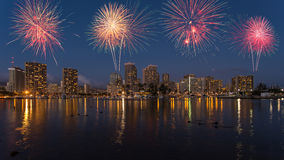 Colorful firework over Honolulu skyline Hawaii Stock Photos