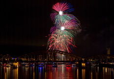 Colorful Firework over the Rhine Royalty Free Stock Photography