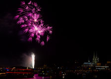 Colorful firework over the river Rhine Stock Images