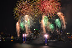 Colorful firework over sea. Colorful firework blast over sea Stock Photos
