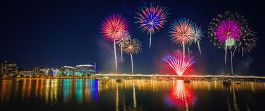 Colorful firework over Tempe lake. 4th July celebration with colorful firework over Tempe town lake royalty free stock images