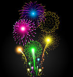 Colorful firework set for Christmas and Happy New Year. Or celebration Royalty Free Stock Image