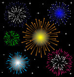 Colorful Firework  set. On night background Royalty Free Stock Photos