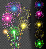 Colorful firework set on translucent background for Christmas an. Colorful firework vector set on translucent background for Christmas and Happy New Year or Royalty Free Stock Photography
