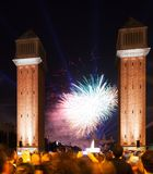 Colorful firework at Spain square in Barcelona Royalty Free Stock Images