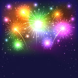 Colorful firework. Sparkle colorful firework on dark background, illustration Stock Image