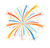 Colorful firework on white background. Illustration Royalty Free Stock Photo