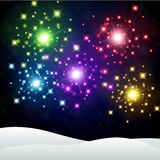 Colorful Firework in winter night background. Vector Illustration of Colorful Firework in winter night background Royalty Free Stock Photos