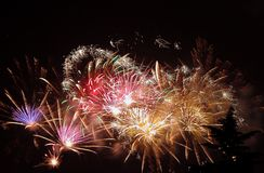 Colorful fireworks. Fireworks show in the night Royalty Free Stock Image