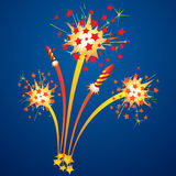 Colorful fireworks. And flying rockets in the night sky Stock Photography