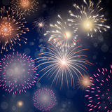 Colorful Fireworks. Illustration of Colorful Fireworks on a dark blue background Stock Photo