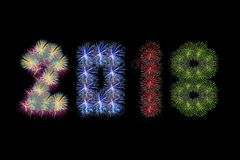 Colorful fireworks arranged as year 2018. For artwork Stock Photo