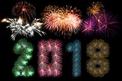 Colorful fireworks arranged as year 2018. For artwork Royalty Free Stock Photos