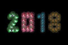 Colorful fireworks arranged as year 2018. For artwork Royalty Free Stock Photo