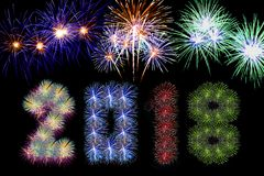 Colorful fireworks arranged as year 2018. For artwork Royalty Free Stock Images