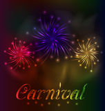 Colorful fireworks background for Carnival party Royalty Free Stock Images