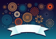Colorful fireworks background. Colorful fireworks on dark background, with space for text on a ribbon. Vector illustration. Flat style design. Concept for vector illustration