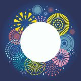 Colorful fireworks background. Colorful fireworks on dark background, with space for text. Vector illustration. Flat style design. Concept for holiday banner stock illustration