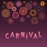 Colorful fireworks background. Colorful fireworks on dark background, with text Carnival. Vector illustration. Flat style design. Concept for holiday banner stock illustration