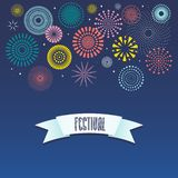 Colorful fireworks background. Colorful fireworks on dark background, with text Festival on a ribbon. Vector illustration. Flat style design. Concept for holiday vector illustration
