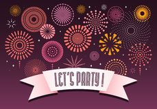 Colorful fireworks background. Colorful fireworks on dark background, with text Lets party on a ribbon. Vector illustration. Flat style design. Concept for stock illustration