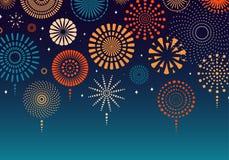 Colorful fireworks background. Colorful fireworks on dark background. Vector illustration. Flat style design. Concept for holiday banner, poster, flyer, greeting stock illustration