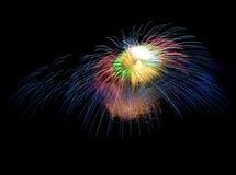 Colorful fireworks background,fireworks explosion in dark sky Stock Image