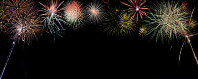 Free Colorful Fireworks Banner With Room For Writing. Stock Photo - 81640180