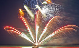 Colorful fireworks on the beach Royalty Free Stock Photos