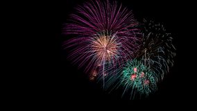 Fireworks on black background. Colorful of fireworks on black background royalty free stock photos