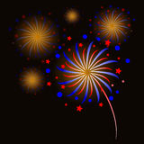 Colorful fireworks on black background.  Stock Photography