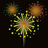 Colorful fireworks on black background.  Stock Photos