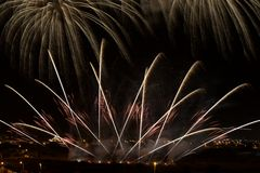Colorful fireworks in black background,artistic fireworks in Malta,Malta fireworks festival Stock Photo