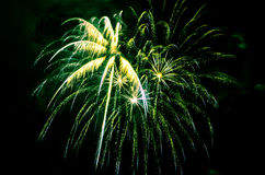 Colorful fireworks on black background. Celebrating holidays with colorful fireworks display. Happy New Year 2017 greeting card. Happy Independence Day. Success Royalty Free Stock Image
