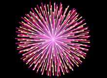 Colorful Fireworks on black background. Celebration concept Stock Photo