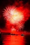 Colorful fireworks on the black background Royalty Free Stock Photography