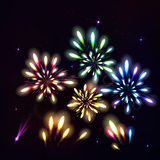 Colorful fireworks on black background. Night sky with stars and. Salute for festival in vector. Blue, green, yellow and red fireworks and explosion Stock Photos
