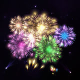 Colorful fireworks on black background. Night sky with stars and Stock Image
